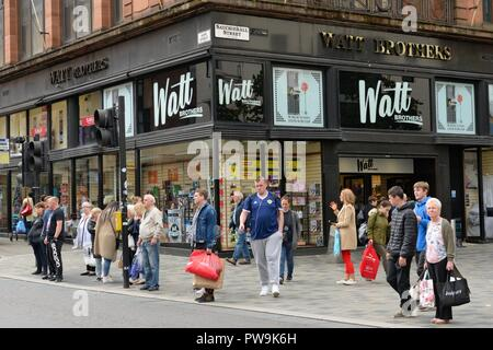 The Watt Brothers store frontage in Glasgow, Scotland, UK - Stock Image