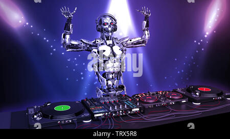 DJ Robot, disc jockey cyborg with hands up playing music on turntables, android on stage with deejay audio equipment, 3D rendering - Stock Image