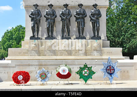 Guards war memorial first & second world war with five wreath & bronze sculpture of each foot guards regiment City of Westminster London England UK - Stock Image