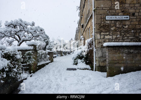Side view of cottages from Tory Bradford on Avon in snowy weather - Stock Image