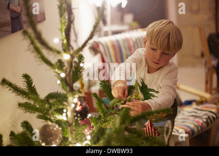 Young boy decorating tree at christmas - Stock Image