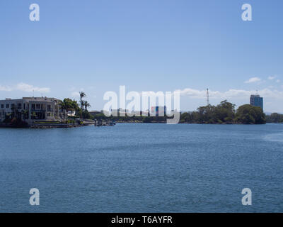View Of Chevron Island At Surfers Paradise From The Nerang River - Stock Image