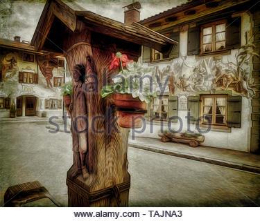 FINE ART: A quiet corner in the Ballenhausgasse, Mittenwald, Bavaria, Germany - Stock Image