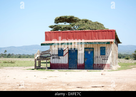 Image of the compact Safari hotel situated in the Masai Mara Kenya next door to the Soweto General store and cycle - Stock Image