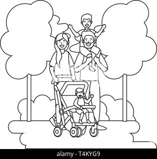 couple with baby carriage avatar cartoon character with children black and white vector illustration graphic design - Stock Image