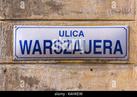 Street name sign in the old Jewish district of Kaziemierz - Krakow, Poland. - Stock Image