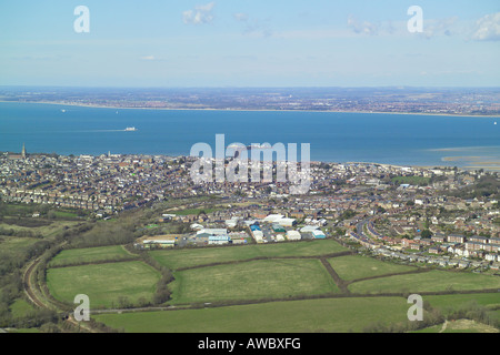 Panoramic aerial view of Ryde on the Isle of Wight with views across the Solent and features the Island Line train - Stock Image