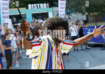 Montreal, Canada. 7/4/2018. Hip Hop brass band Urban Science Brass Band perform at the Montreal International Jazz Festival. - Stock Image