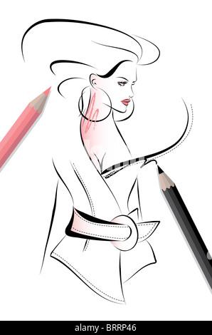 Fashion Sketch Illustration - Stock Image