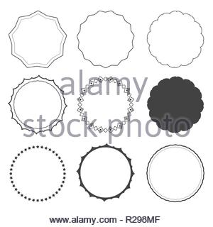 Set of 9 design frames, borders, circles isolated on white background. Star, rounded, edgy frames - Stock Image