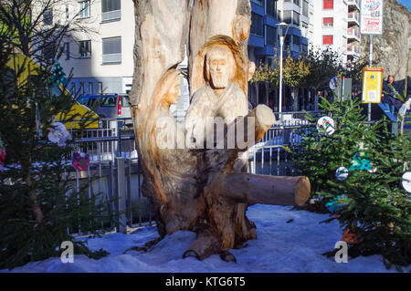 Nativity scene of Mary and Joseph at the Marche de Noel Sion.  Sion, Valais, Switzerland. - Stock Image