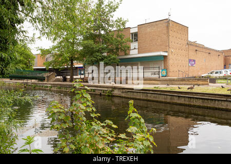 Vacant, former Argos shop viewed from Butten Island, Riverside, Thetford, Norfolk. unsharpened. - Stock Image