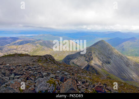 View from the summit (966m) of Ben More on Mull towards A'Chioch which is east north east of Ben More top, - Stock Image
