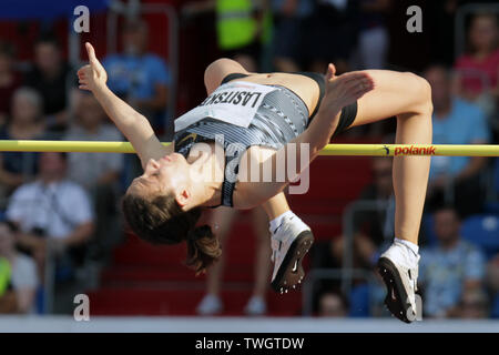 Ostrava, Czech Republic. 20th June, 2019. Russian high jumper Maria Lasickene competes during the Ostrava Golden Spike, an IAAF World Challenge athletic meeting, in Ostrava, Czech Republic, on June 20, 2019. Credit: Petr Sznapka/CTK Photo/Alamy Live News - Stock Image