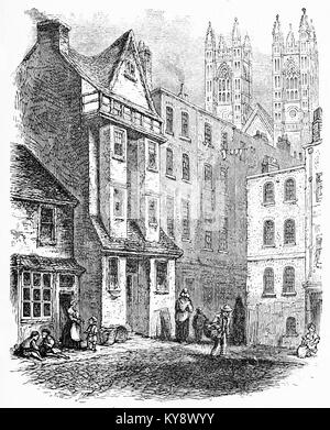 Engraving of William Caxton's house at Westminster. From Our english Bible by John Stoughton, circa 1900. - Stock Image