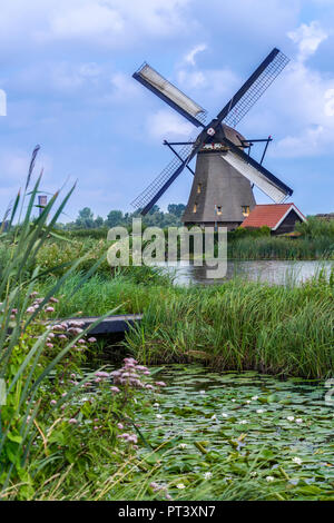 One of the 19 windmill at Kinderdijk in the Netherlands. Built around 1740 this is the largest concentration of windmills in the Netherlands. A UNESCO - Stock Image