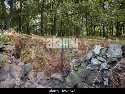 No admittance sign inside Bradgate Park, Leicestershire, East Midlands UK - Stock Image
