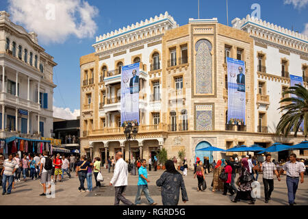Places fot election posters on the building in Tunis - Stock Image