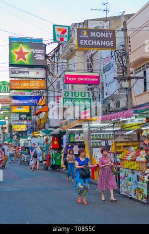 Khaosan Road, Banglamphu, Bangkok, Thailand - Stock Image
