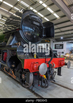 Front end of Ex LNER class A3 express passenger Flying Scotsman steam locomotive on display at Locomotion National Railway Museum Shildon - Stock Image