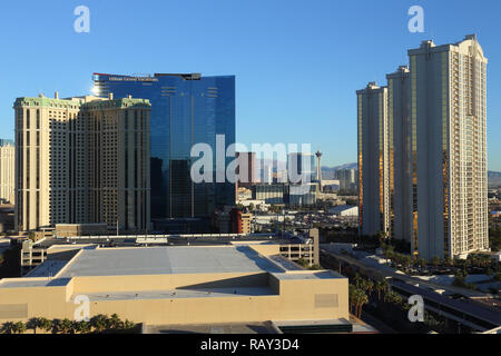 Highrise buildings at the Strip in Las Vegas, Nevada, USA - Stock Image