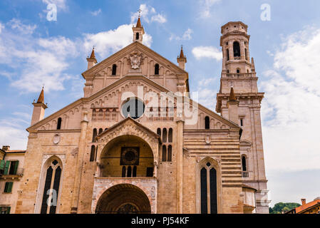 Duomo church and tower in Verona, Italy - Stock Image