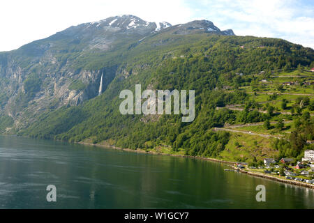 ornevegen or eagle road in norway with waterfalls, eagle road in norway and geiranger - Stock Image
