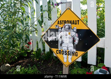 Astronaut crossing sign at the boyhood home of Apollo 11 astronaut Neil Armstrong, the first man to step on the moon, at Wapakoneta, Ohio. - Stock Image