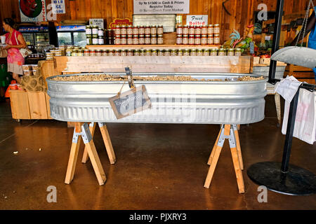 Large tub full of unshelled raw peanuts for sale at the Sweet Creek country roadside market in Pike Road Alabama, USA. - Stock Image