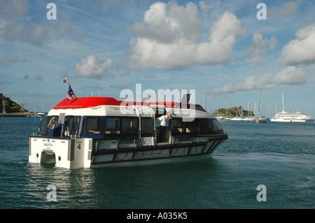 St Barths St Barts Gustavia Harbor cruise ship tender - Stock Image