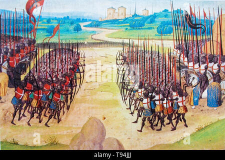 Battle of Agincourt, painting, early 15th Century - Stock Image
