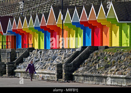 A linear rainbow of beach hut colours in Scarborough's North Bay. - Stock Image