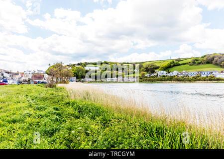 Torcross Devon UK, Torcross freshwater lake of Slapton Ley, Torcross village Devon UK, Torcross, Devon, UK, freshwater lake, Slapton Ley - Stock Image