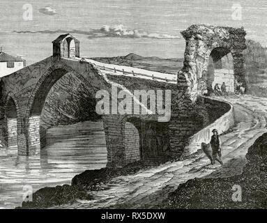 Spain, Catalonia, Martorell. Devil's Bridge. Engraving. Crónica General de España, Historia Ilustrada y Descriptiva de sus Provincias. Catalonia. 1866. - Stock Image