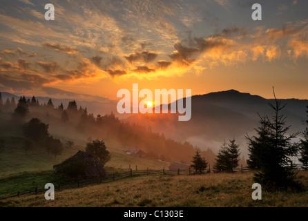 sunset in dzembronya area of ukraine - Stock Image
