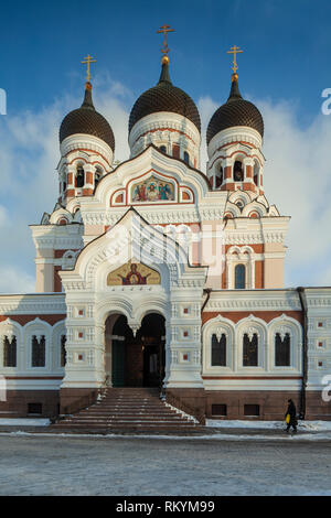 Winter day at Alexander Nevsky orthodox church in Tallinn old town. - Stock Image
