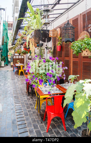Siem Reap, Cambodia - 10th January 2018: Bar/restaurant in tourist street. There are many tourists visiting the city. - Stock Image