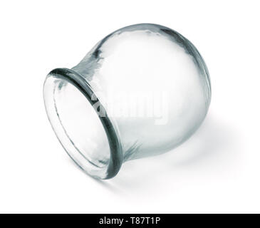 Single medical cupping glass isolated on white - Stock Image