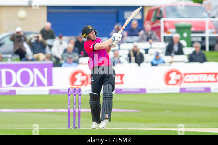 Brighton, UK. 7th May 2019 - Phil Salt of Sussex Sharks batting during the Royal London One-Day Cup match between Sussex Sharks and Glamorgan at the 1st Central County ground in Hove. Credit : Simon Dack / Alamy Live News - Stock Image