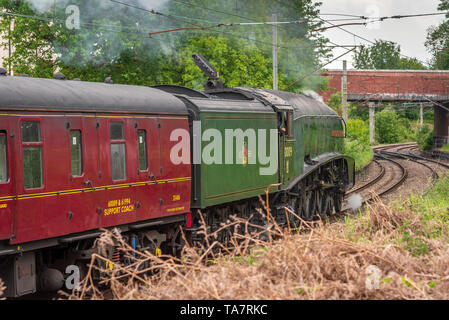 A4 Pacific heritage steam locomotive The Union of South Africa. Seen at Golborne junction on the West Coast Main Line. - Stock Image