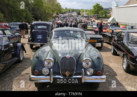 Jaguar XK150 Coupe (1960), British Marques Day, 28 April 2019, Brooklands Museum, Weybridge, Surrey, England, Great Britain, UK, Europe - Stock Image