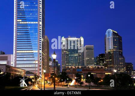Charlotte, North Carolina. Downtown at night. - Stock Image