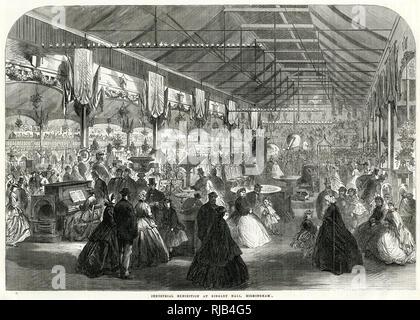 Interior of Industrial Exhibition at Bingley Hall, Birmingham. - Stock Image