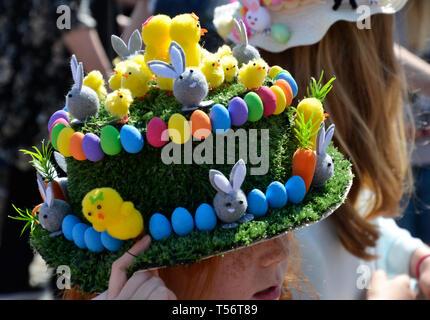 Easter Bonnet Parade 2019 at Battle Market Square, Battle, Sussex, UK - Stock Image