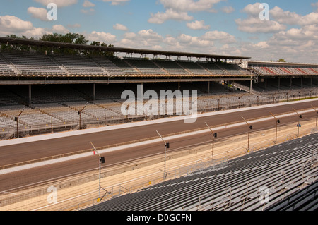 USA, Indiana, Indianapolis Motor Speedway, bleachers at scene of the annual Indy 500 car race. - Stock Image