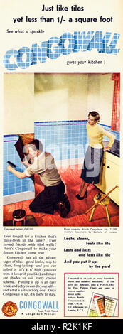 Original 1950s vintage old print advertisement from English magazine advertising Congowall kitchen wall covering circa 1954 - Stock Image