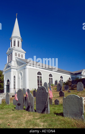 Holy Family Parish Saint Bernard Church and the Old Hill Burying Ground Concord MA USA - Stock Image