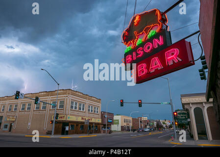 Lightening and summer storm clouds above main street, Miles City, Montana, United States - Stock Image