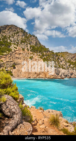 Scenic path to the Coll Baix beach on Mallorca, Spain. - Stock Image