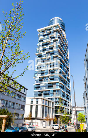 The new Henninger Turm in Frankfurt, Germany. 17. April 2018. - Stock Image